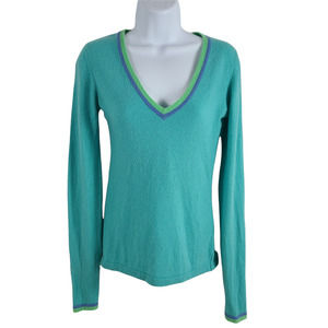 Griffen Cashmere Sweater VNeck Fitted Small/Medium Contrast Trim Turquoise Blue